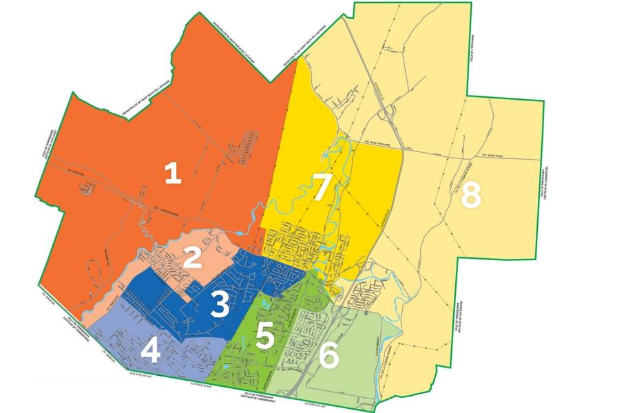 Carte des secteurs de collecte de Mascouche