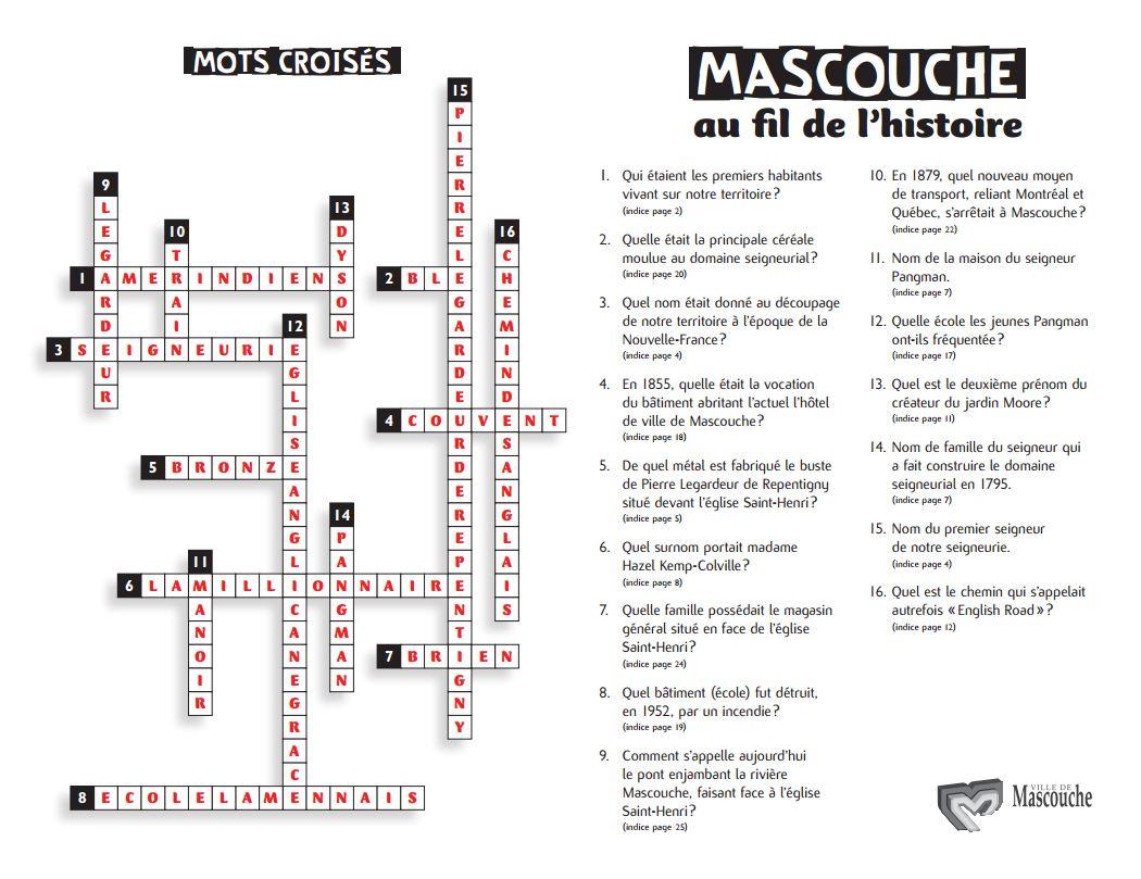 Solution au mots croisés Mascouche au fil de l'histoire